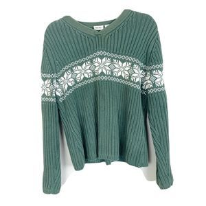 Cherokee Green Long Sleeve V-Neck Sweater Size XL